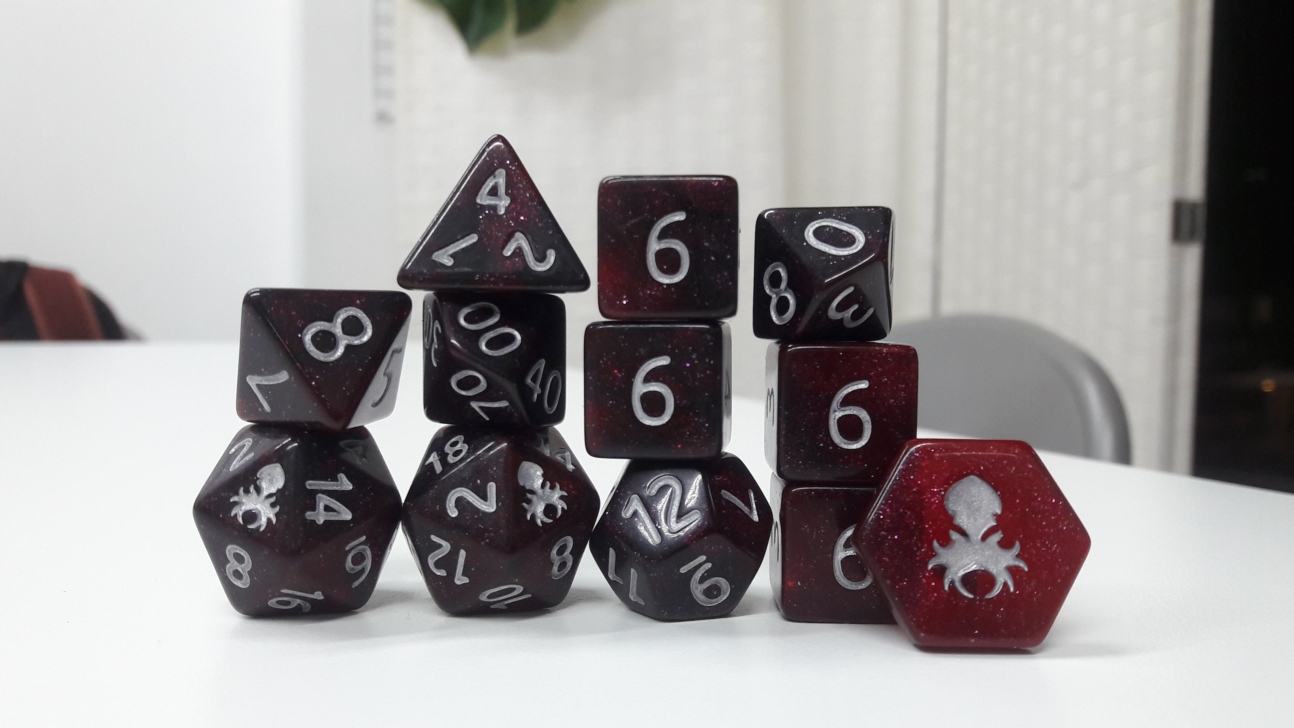 Crimson Midnight 12pc Glimmer RPG Dice Set with Silver Ink - Kraken Dice | Sunny Pair'O'Dice