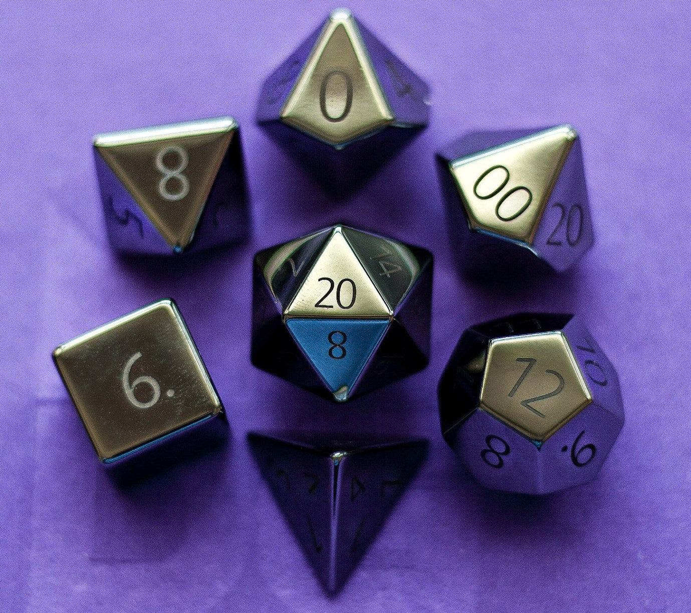 Metallic Dice Games - Engraved Hematite: Full-Sized 16mm Polyhedral Dice Set | Sunny Pair'O'Dice