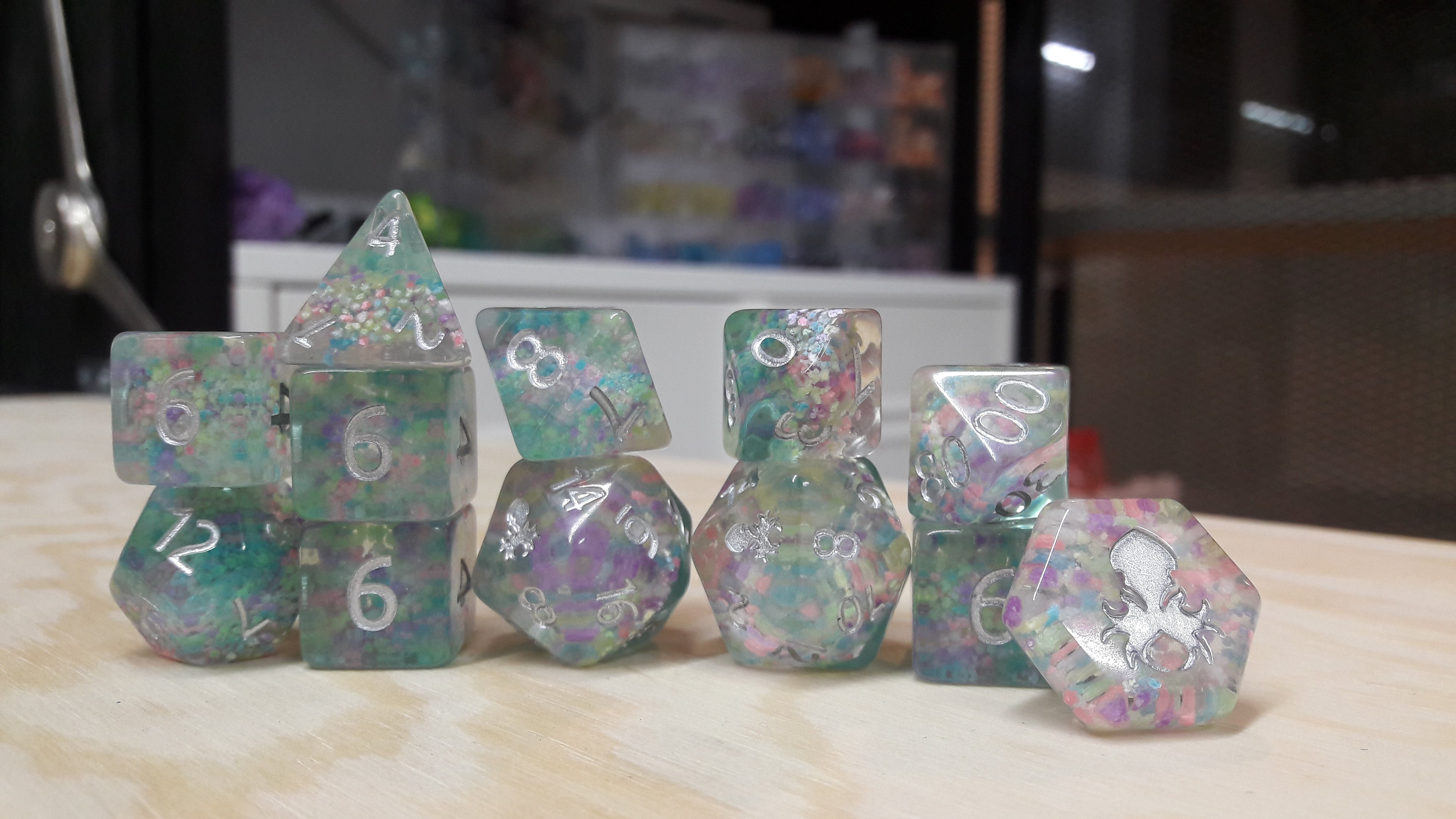 Glowquarium Teal 12pc Polyhedral Dice set with Glow in the Dark Particles - Kraken Dice | Sunny Pair'O'Dice