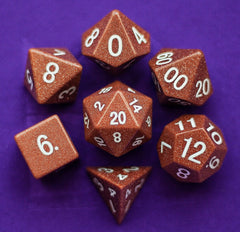 Metallic Dice Games - Goldstone: Full-Sized 16mm Polyhedral Dice Set | Sunny Pair'O'Dice