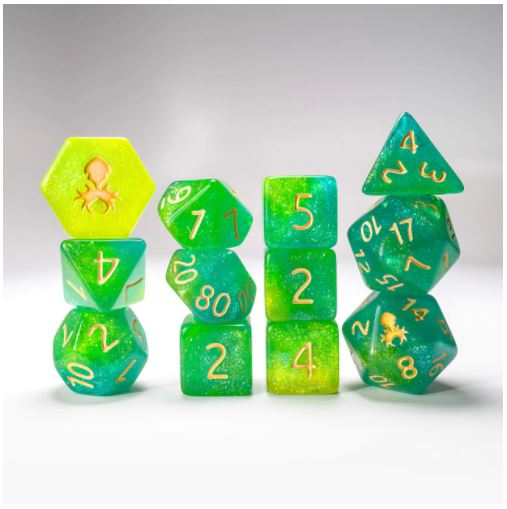 Fern Glimmer RPG with Gold Ink 12pc - Kraken Dice | Sunny Pair'O'Dice