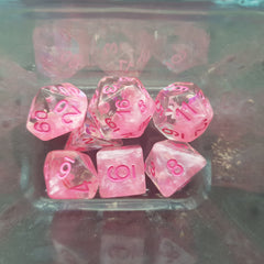 RPG Dice Set Dreamlike Pink Bow - Kraken Dice | Sunny Pair'O'Dice