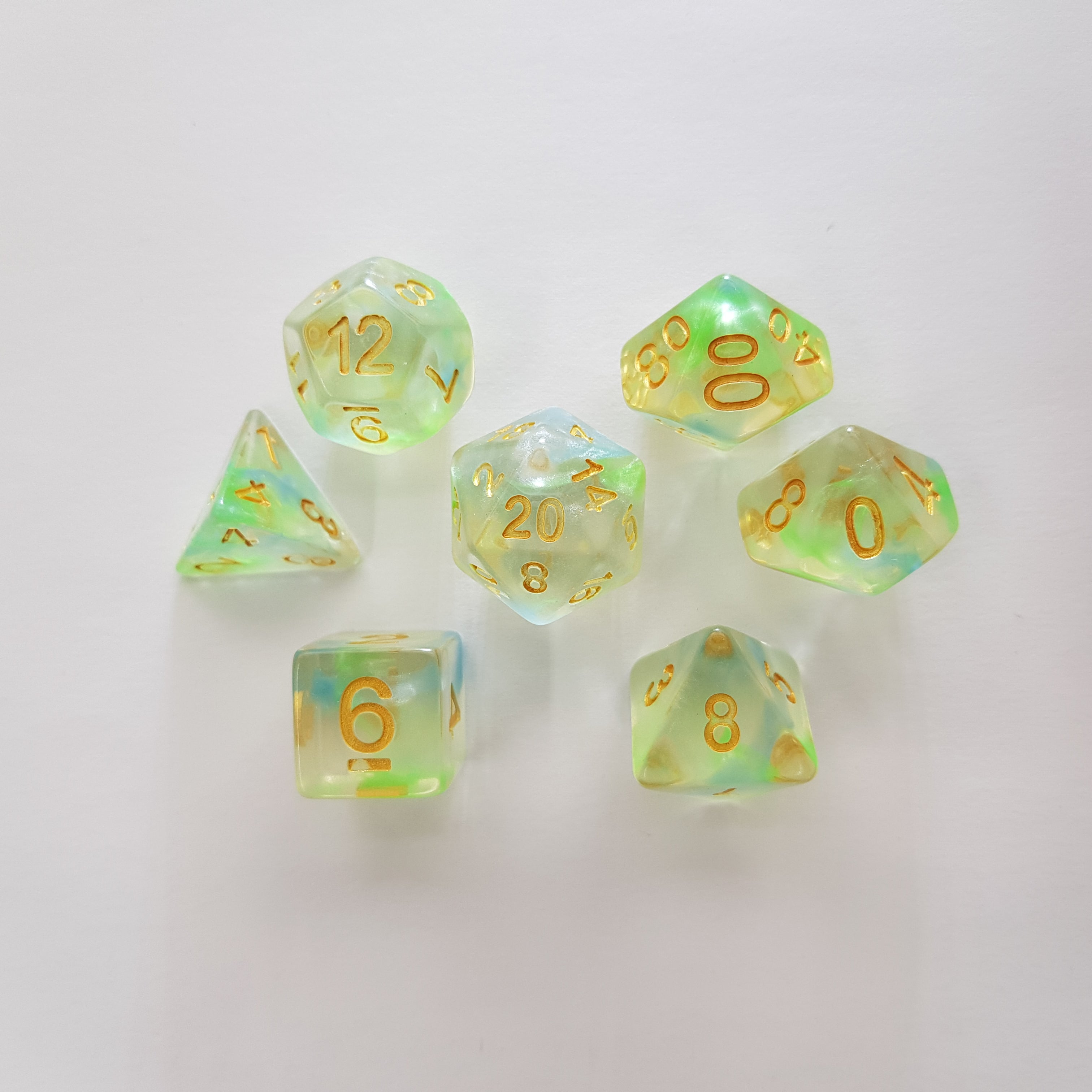 RPG Dice Set Emerald Wisp - Die Hard Dice | Sunny Pair'O'Dice