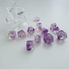 Mystic Noble 12pc Polyhedral Dice set with Silver Ink - Kraken Dice | Sunny Pair'O'Dice