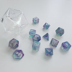 Mystic Shaman 12pc Polyhedral Dice set with Silver Ink - Kraken Dice | Sunny Pair'O'Dice