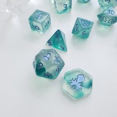 Mystic Tides 12pc Polyhedral Dice set with Metallic Blue Ink - Kraken Dice | Sunny Pair'O'Dice