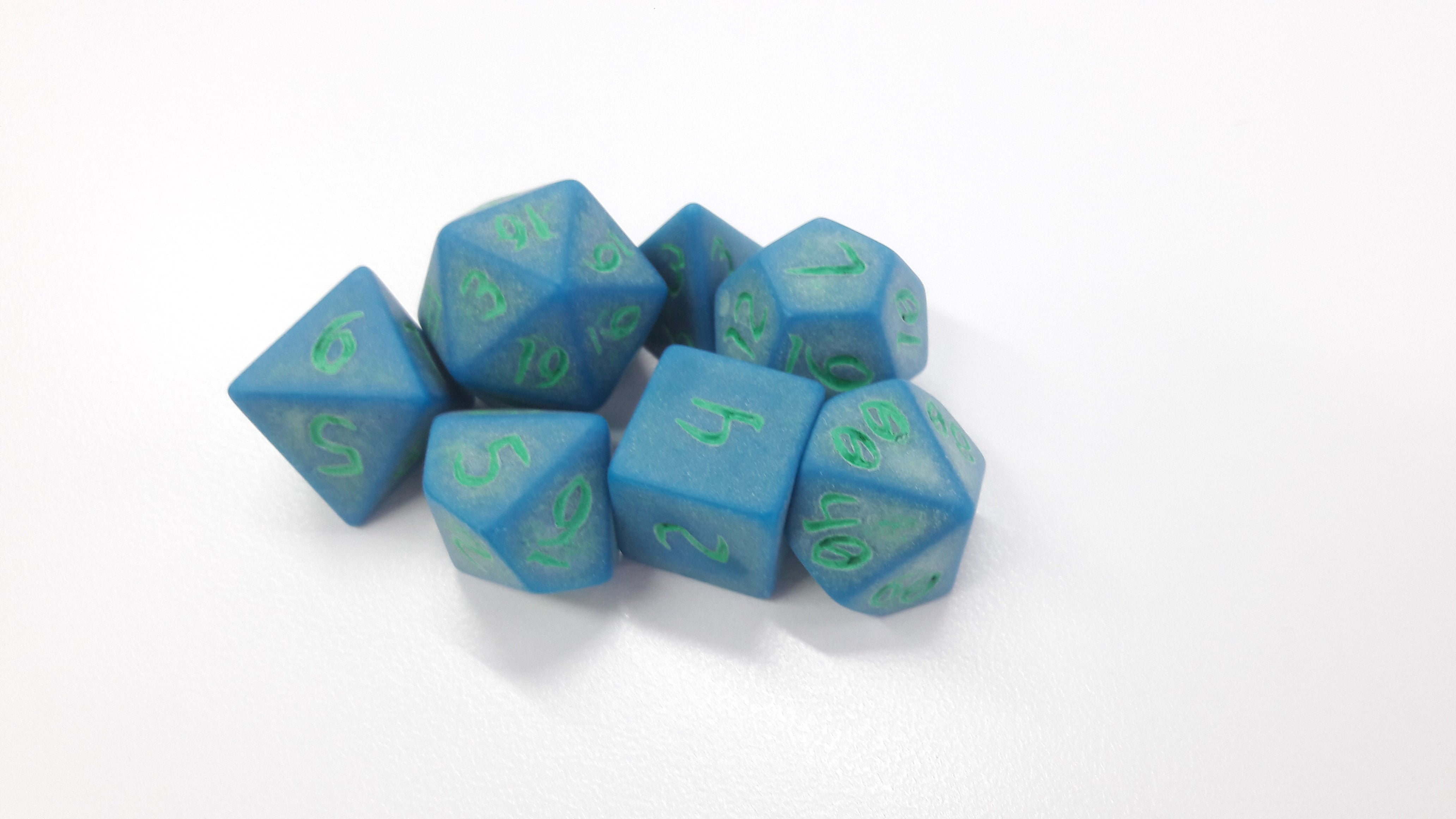 Primeval: Lapis with Green Ink 7pc Custom Font Polyhedral Dice Set - Kraken Dice | Sunny Pair'O'Dice