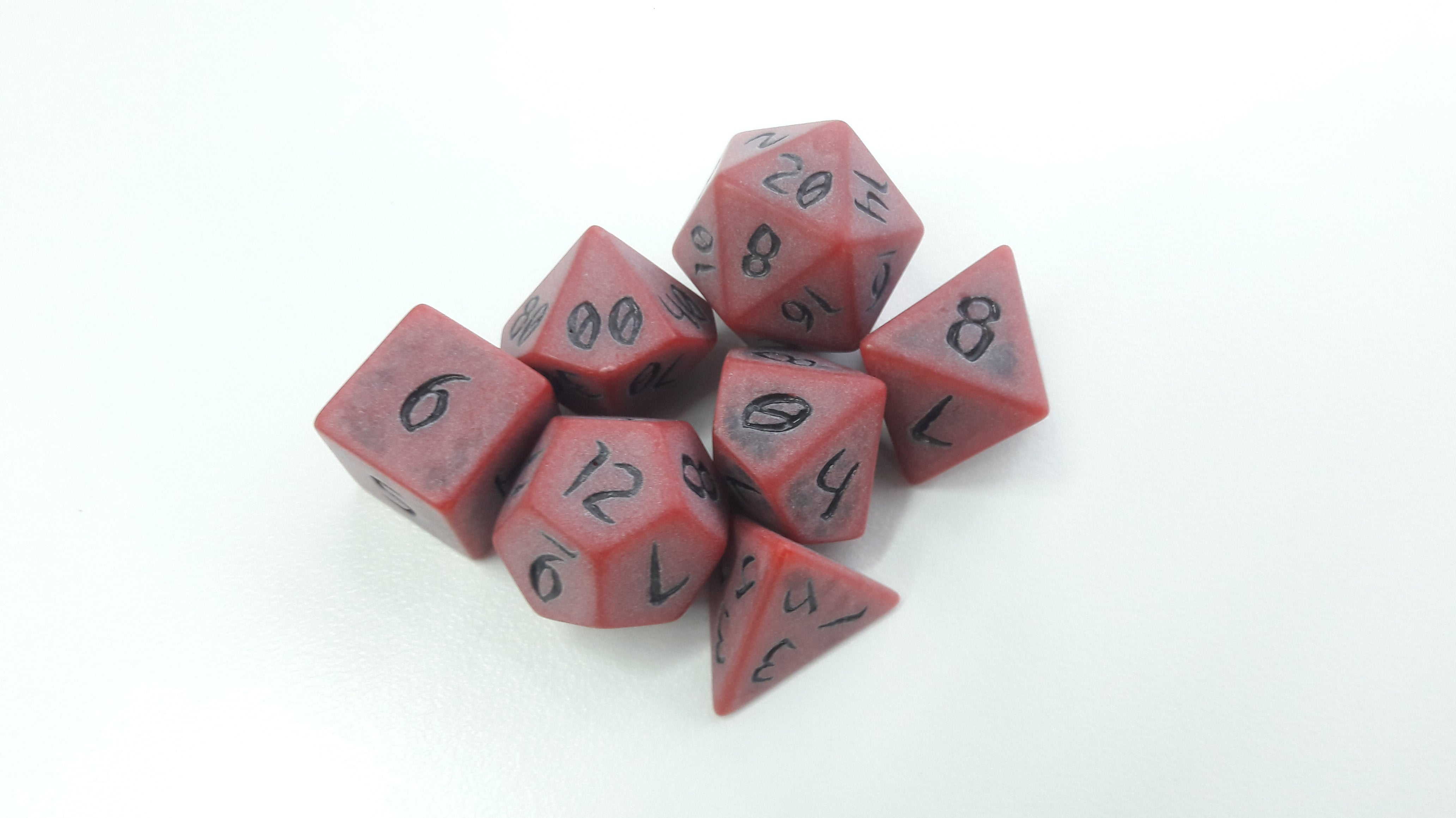 Primeval: Red Clay with Black Ink 7pc Custom Font Polyhedral Dice Set - Kraken Dice | Sunny Pair'O'Dice