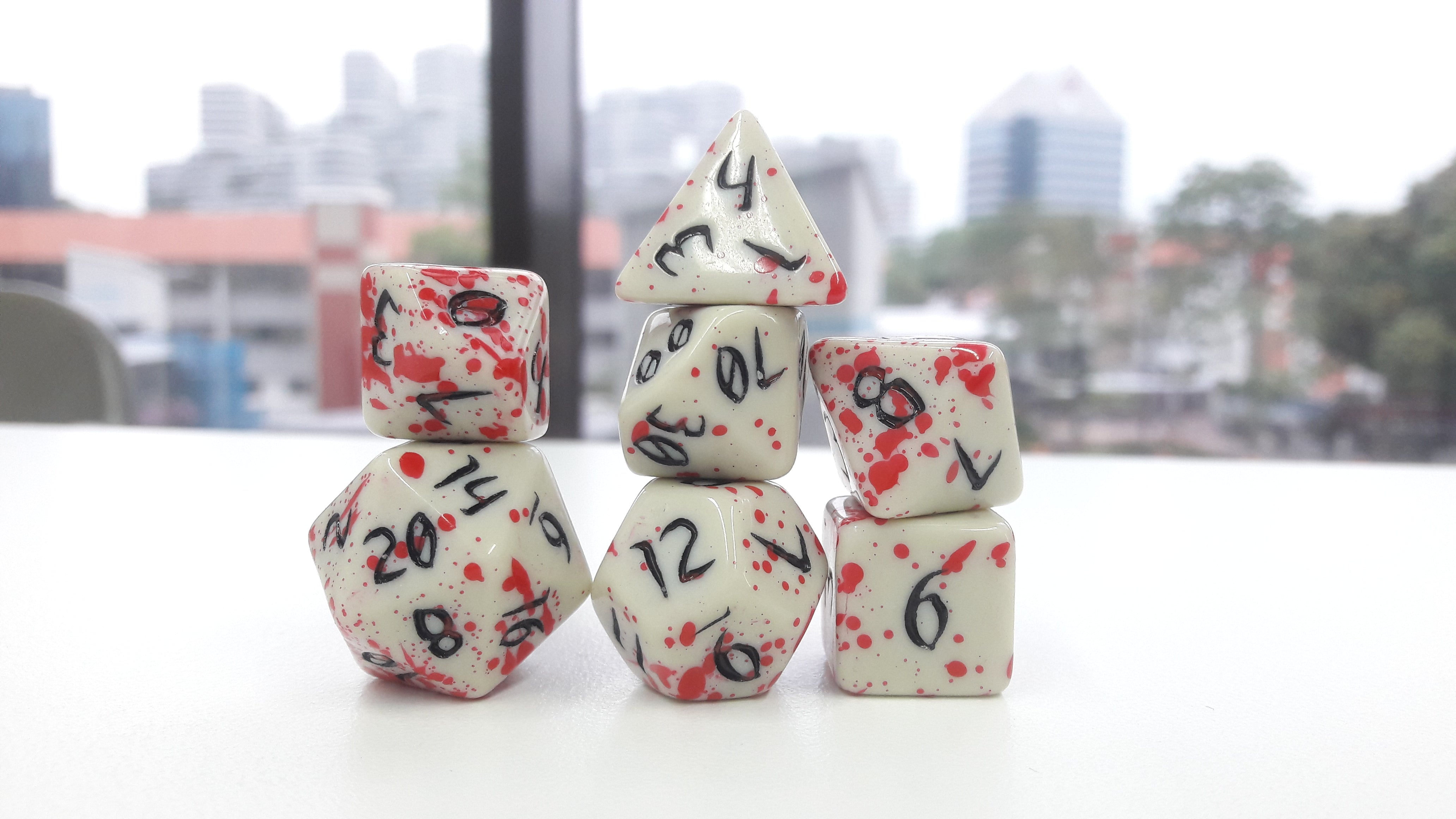 The Red Queen - Primeval: Black and Red with White Ink 7pc Custom Font Polyhedral Dice Set - Kraken Dice | Sunny Pair'O'Dice