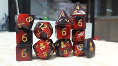 12pc Red and Black Gummi Polyhedral Dice Set - Kraken Dice | Sunny Pair'O'Dice