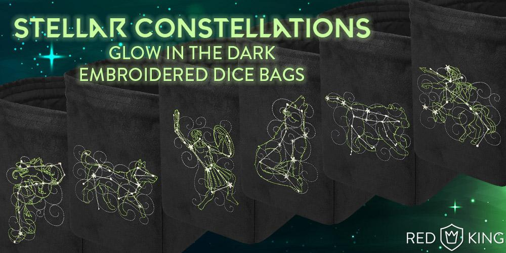 Glow in the Dark Dice Bag Stella Constellations - Red King Co | Sunny Pair'O'Dice
