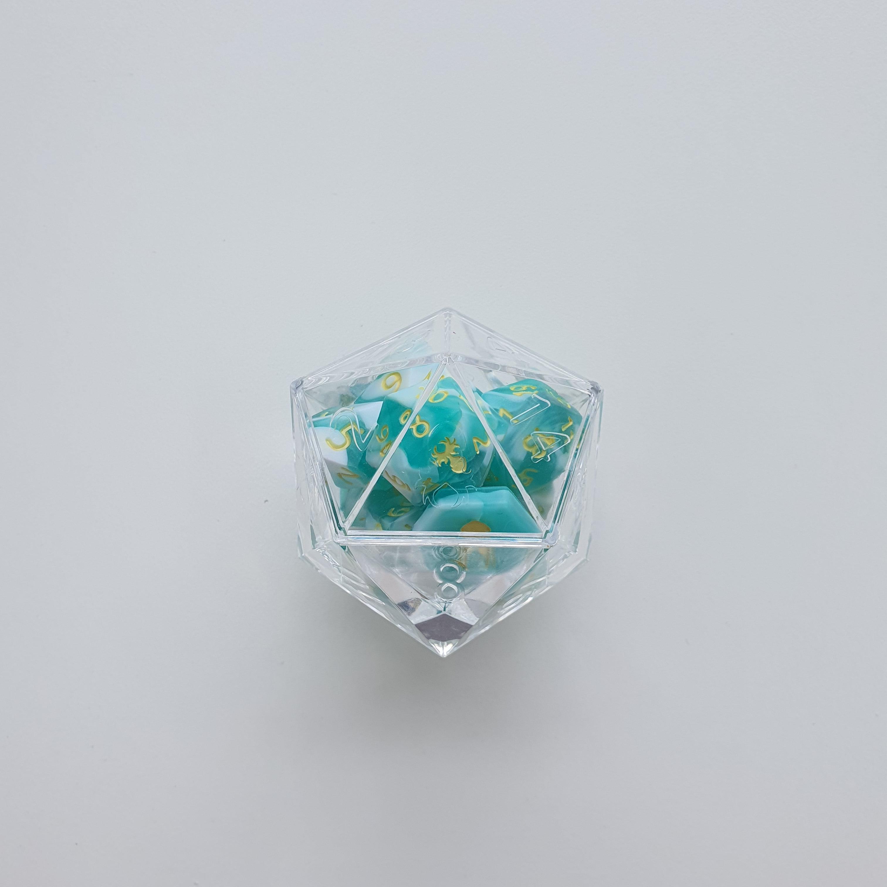 RAW 12pc Teal and White Gummi Baby Shark Do Do Do Do Polyhedral Dice Set with Custom Ink - Kraken Dice | Sunny Pair'O'Dice