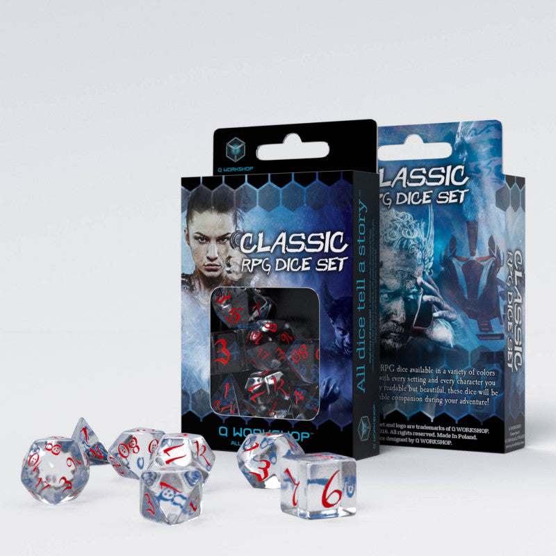 Q-Workshop Classic RPG Translucent & Blue-Red Dice Set | Sunny Pair'O'Dice