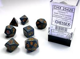 Chessex Opaque Dark Grey/ Copper Polyhedral Dice Set (CHX25420) | Sunny Pair'O'Dice