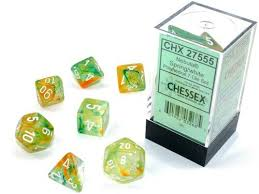 Chessex Nebula Spring/White Luminary Polyhedral Dice Set (CHX27555) | Sunny Pair'O'Dice