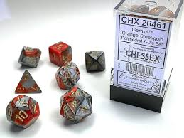 Chessex Gemini Orange-Steel/Gold Polyhedral Dice Set (CHX25444) | Sunny Pair'O'Dice