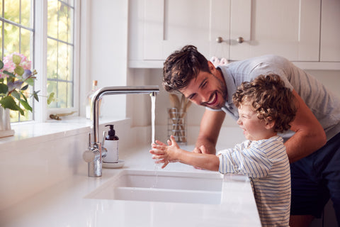 Handwashing is one of the top baby safety tips.