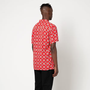 HUF Atelier Resort Woven Short Sleeve Shirt Mens SS Knitwear Red