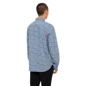HUF Bdr Long Sleeve Chambray Shirt Mens Ls Shirt Indigo