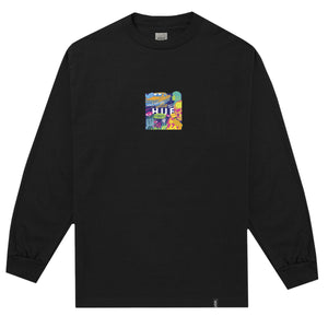 HUF Comics Box Logo Long Sleeve T Shirt Mens Ls Tee Black