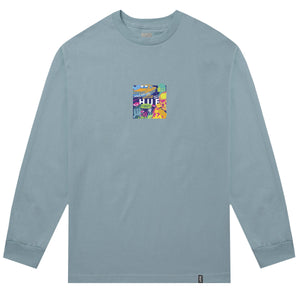 HUF Comics Box Logo Long Sleeve T Shirt Mens Ls Tee Cloud Blue