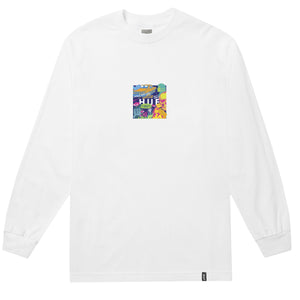 HUF Comics Box Logo Long Sleeve T Shirt Mens Ls Tee White
