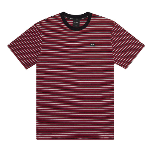 HUF Davis Striped Short Sleeve Knit Top Mens Ss Knitwear Red Pear
