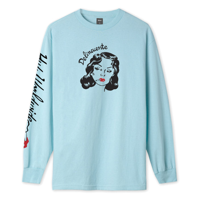 HUF Delincuente Long Sleeve T-Shirt Greek Blue