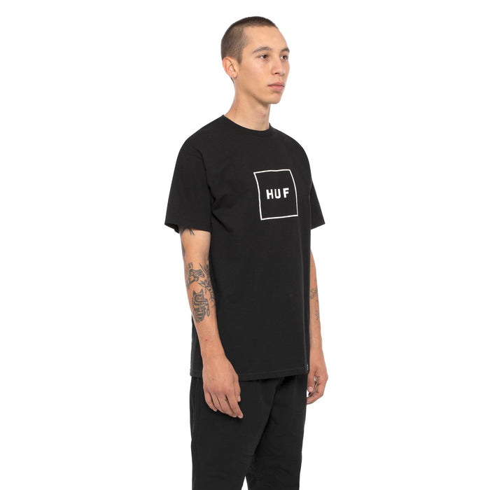 HUF Essentials Box Logo T Shirt Mens Logo Tee Black