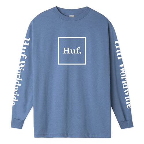 HUF Domestic Long Sleeve T-Shirt Mens LS Tee Greek Blue