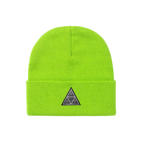 Triple Triangle Cuff Beanie Bio Lime
