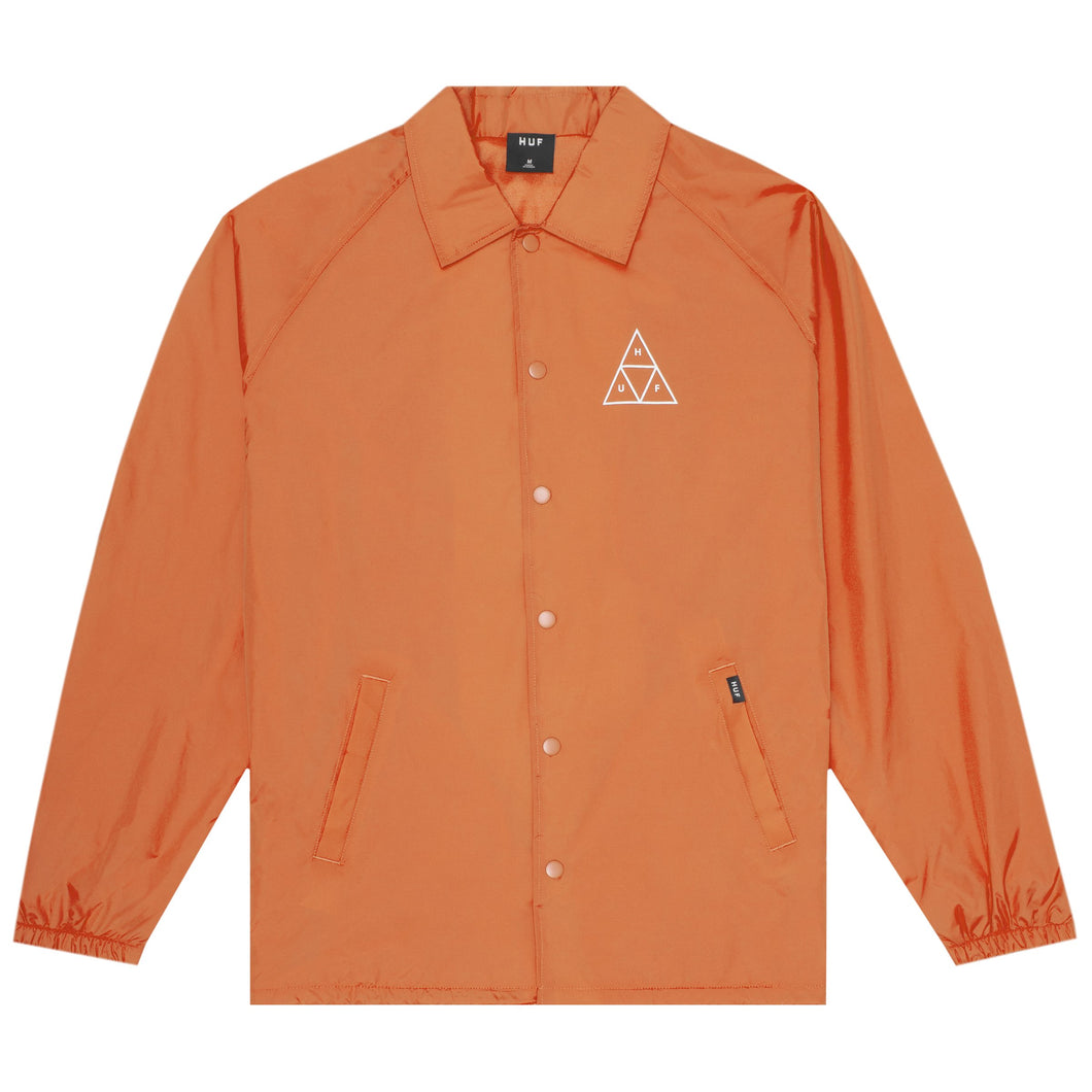 HUF Essentials Triple Triangle Coaches Jacket Mens Jacket Russet Orange