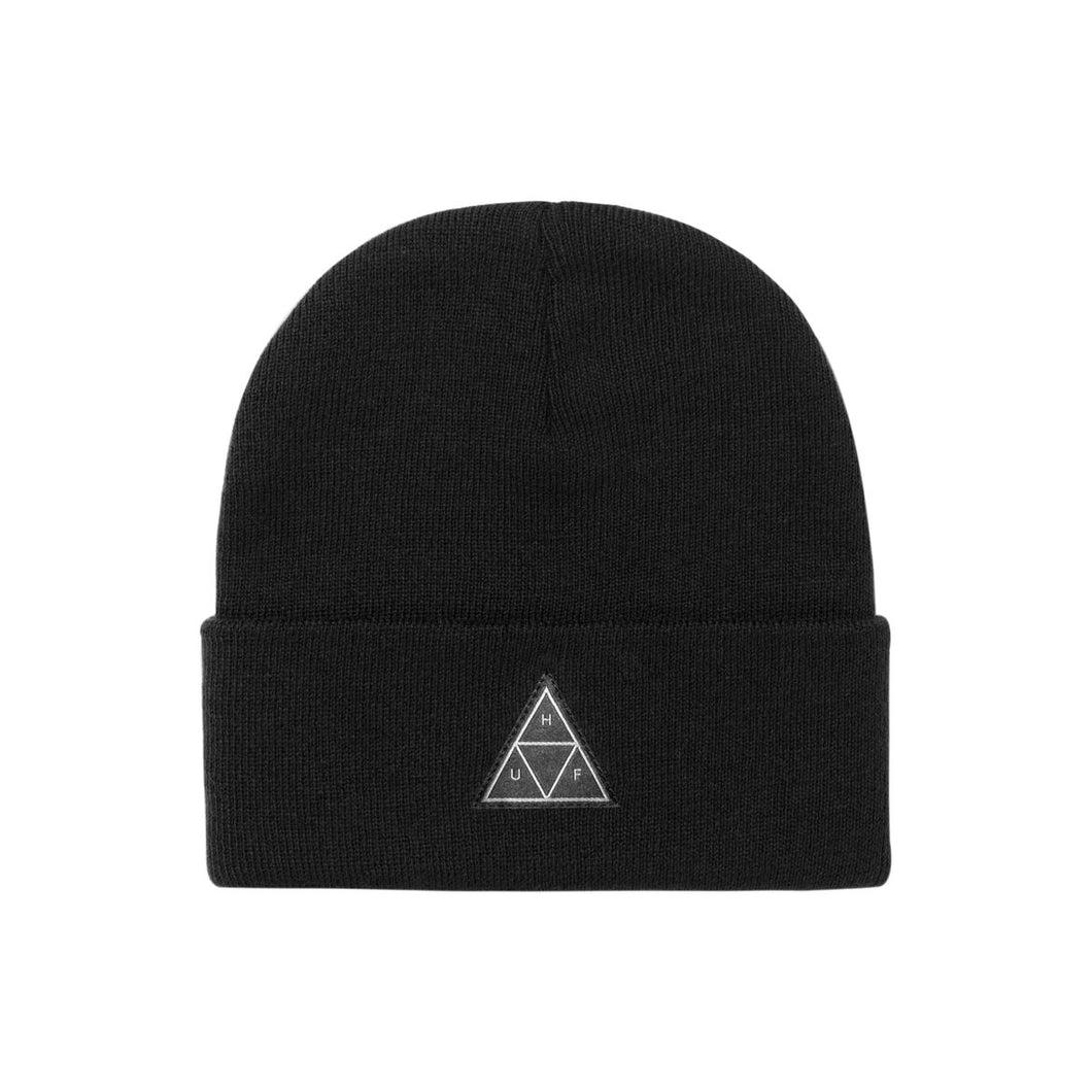 Triple Triangle Cuff Beanie Black