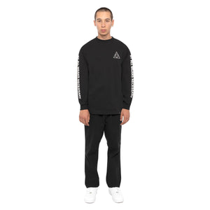 HUF Essentials Triple Triangle Long Sleeve T Shirt Mens Ls Tee Black