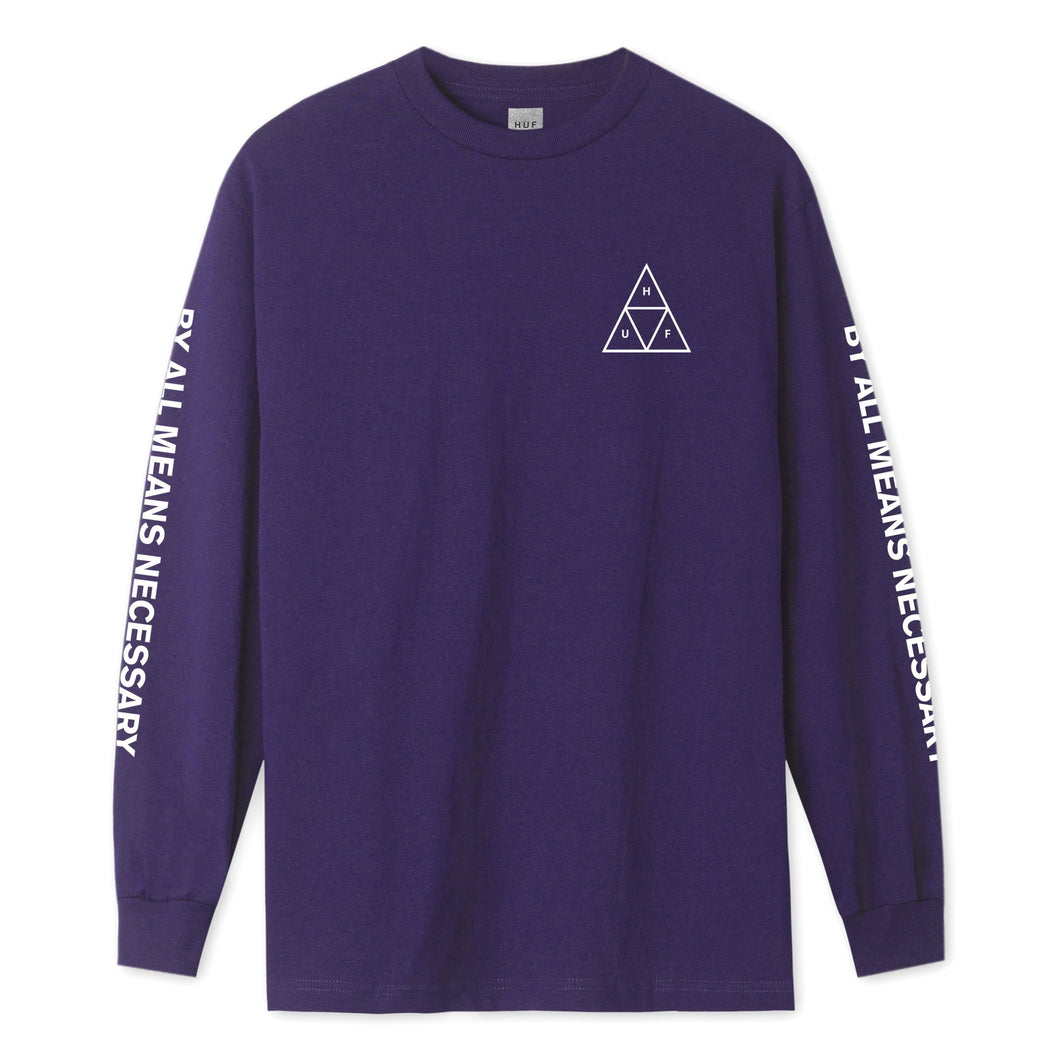 HUF Essentials Triple Triangle Long Sleeve T-Shirt Mens LS Tee Grape