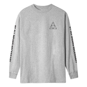 HUF Essentials Triple Triangle Long Sleeve T Shirt Mens Ls Tee Grey Heather