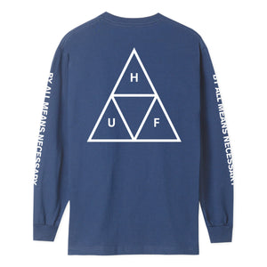 HUF Essentials Triple Triangle Long Sleeve T Shirt Mens Ls Tee Insignia Blue