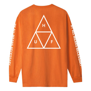 HUF Essentials Triple Triangle Long Sleeve T Shirt Mens Ls Tee Russet Orange