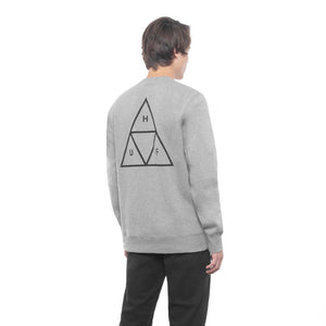 HUF Essentials Triple Triangle Crew Mens Sweater Grey Heather