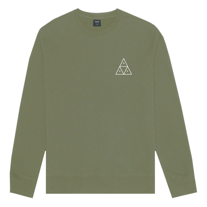 HUF Essentials Triple Triangle Crew Mens Sweater Martini Olive