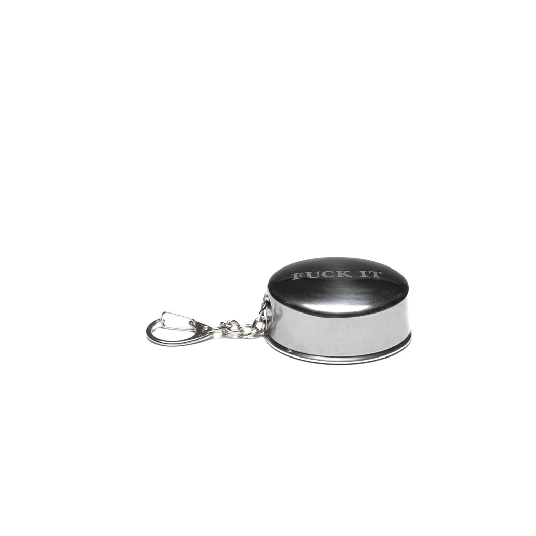 HUF Fuck It Shot Glass Keychain Silver Metal