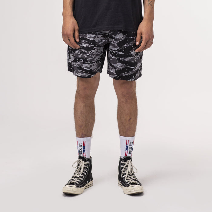 HUF Fuck It Tiger Camo Easy Short Black