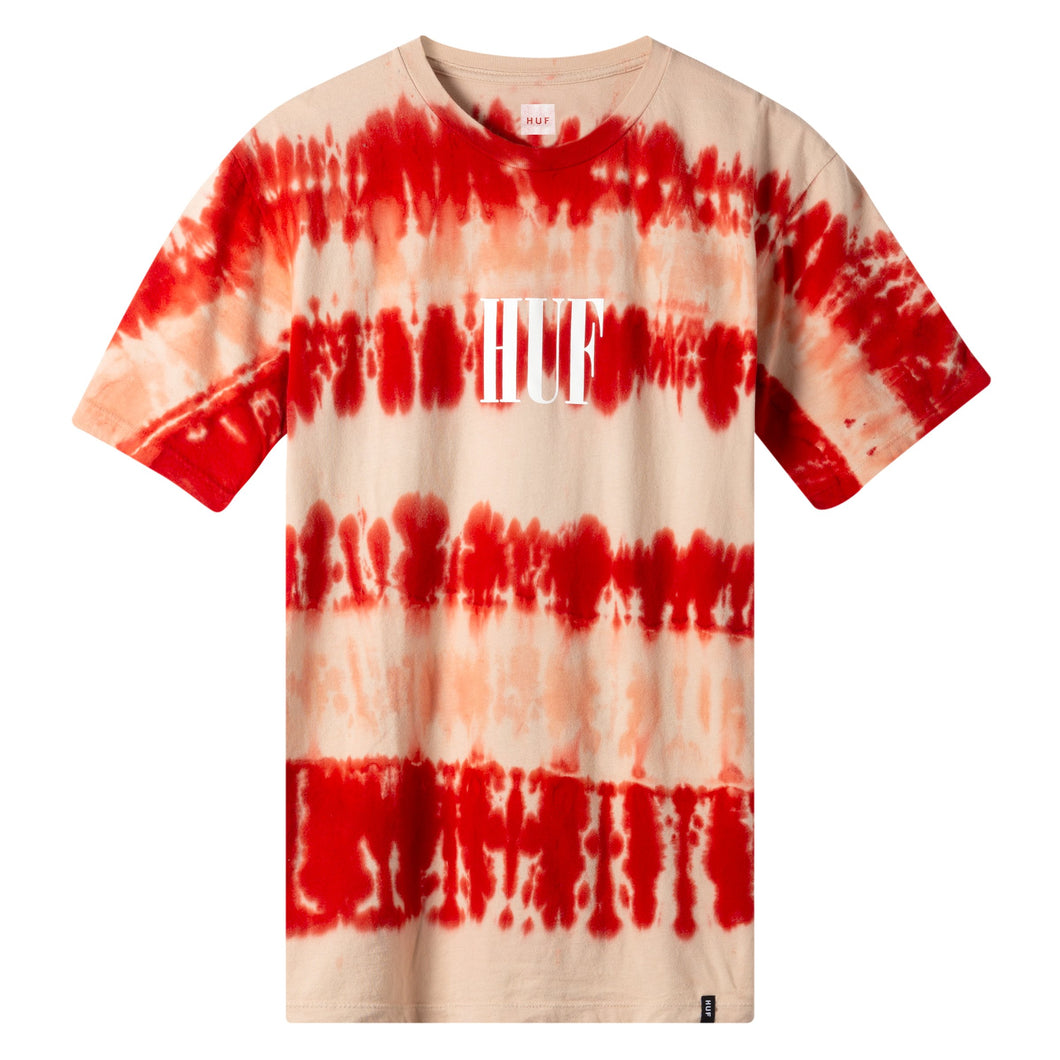 HUF Horizons Striped T Shirt Mens Printed Tee Poppy