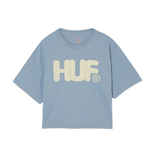 HUF HUF Logo Short Sleeve T-Shirt Womens Printed Tee Light Blue