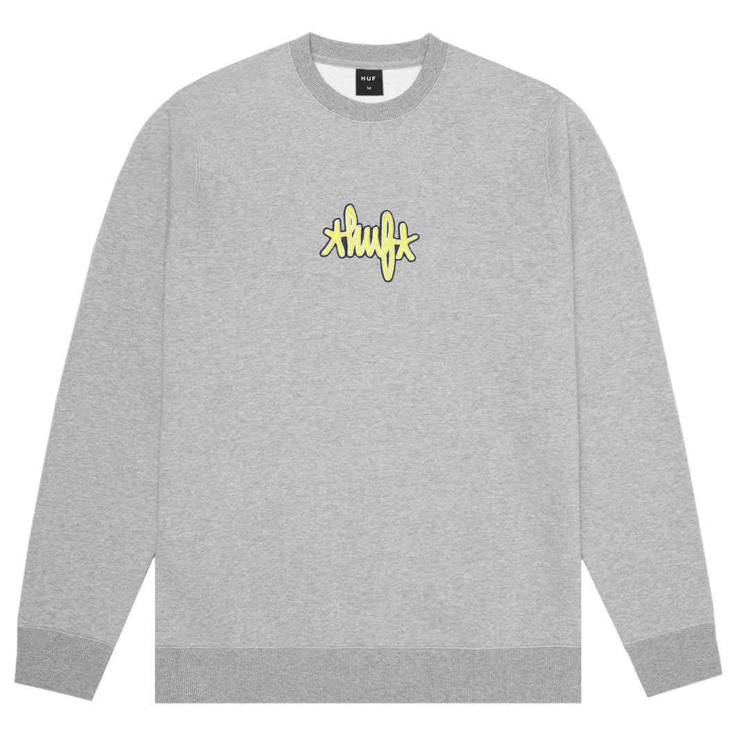 HUF Landmark Logo Crewneck Grey Heather