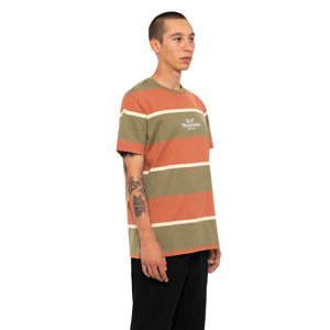 HUF Mazon Stripe Short Sleeve Knit Top Mens Ss Knitwear Martini Olive