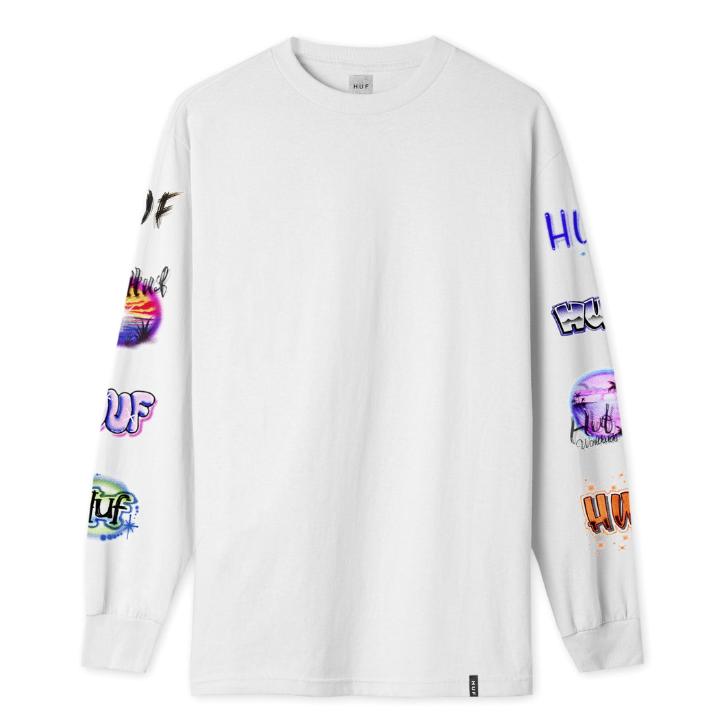 HUF Mens Memories Long Sleeve T-Shirt White