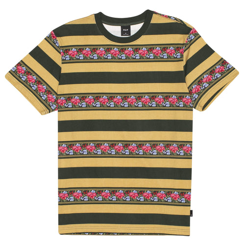 Huf Monarch Stripe Short Sleeve Knit Top Camel
