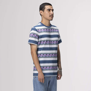 Huf Monarch Stripe Short Sleeve Knit Top Pale Aqua