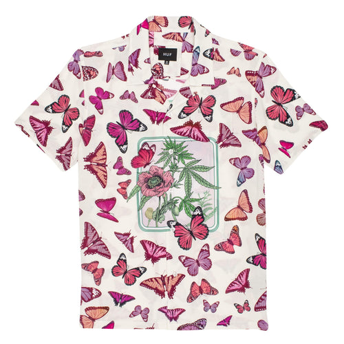 Huf Papillon Short Sleeve Woven Shirt Unbleached